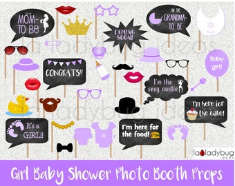 Girl baby shower photo booth props. Printable. DIY purple baby shower bubble speech. Instant download. PDF Digital file. High resolution.