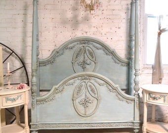 Painted Cottage Romantic French Bed Twin / Full  POSTER BED