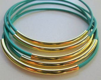 Turquoise Leather Bracelets for Women, Gold Teal Leather Bangles, Gold Tube Aqua Blue Leather Stacking Bracelet Set, Bright Blue Bangles