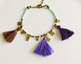 Beaded Bracelet, Evil Eye Bracelet, Tassel Bracelet, Protection Bracelet, Frienship Bracelet, Yoga Bracelet, Boho Jewelry, Best Friend Gift