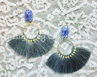GREY Fringe Earrings   blue and white, chinoiserie, statement earrings, gold, gray, lightweight, big earrings