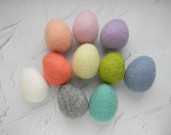 Felted easter eggs ornament Easter egg ornament  Pastel Wool Felt Eggs Funny Easter eggs Rainbow Easter eggs Easter decor Basket filler