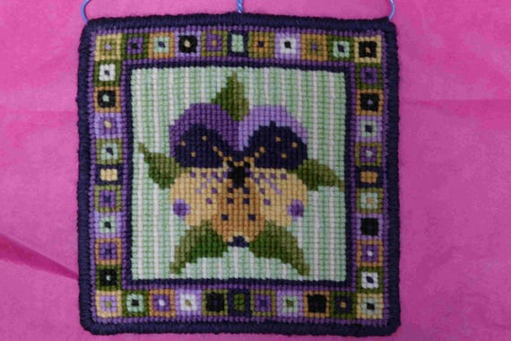 Pansy Tile Cross stitch Tapestry Kit