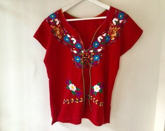 70s red embroidered mexican top s/m / vintage floral bird cotton short sleeve blouse