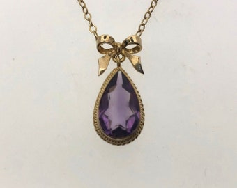 "Amethyst 1974 27"" 9ct Yellow Gold Amethyst Necklace 2.76 carats"
