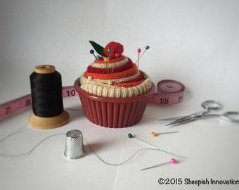 Felted Pincushion Cupcake, Cupcake Pincushion, Red & Orange Cupcake Gift, Christmas gifts under 15 dollars