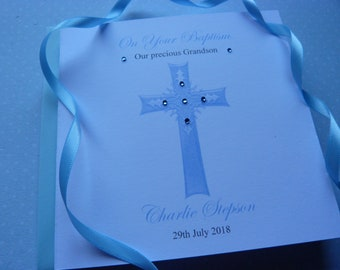"Personalised Handmade Christening, Holy Communion  or Baptism Card    6"" Square"