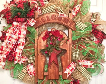 Christmas Deco Mesh Wreath, Welcome Christmas Deco Mesh Wreath, Christmas Wreath, holiday decor, front door wreath, home decorations