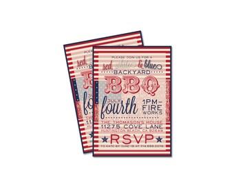 CUSTOM 4th Of July Party Invitation- Backyard BBQ