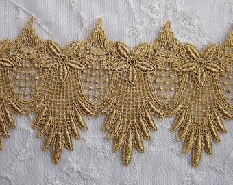Metallic Gold Flower Floral Leaf Lace Belly Dancer Costume