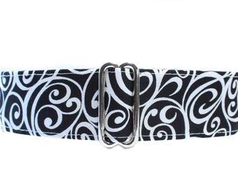 Black and White Martingale Dog Collar, Swirl Martingale Collar, 2 Inch Martingale Dog Collar