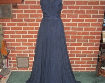 Vintage 1950s Elegant Midnight Blue Chiffon and Rayon Floor Length Evening Dress