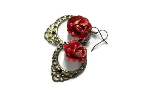 Chandelier dangle earrings with pink paper rose for woman, girl