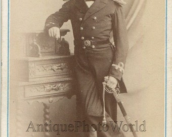 UK young man military officer with sword antique CDV Photo
