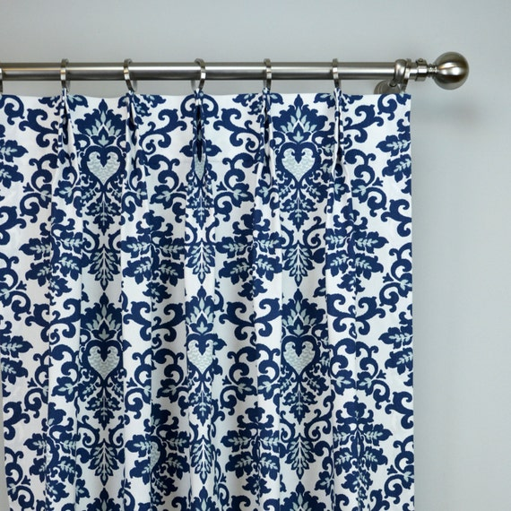 Navy Blue White Cecelia Damask Modern Floral Curtains Pinch
