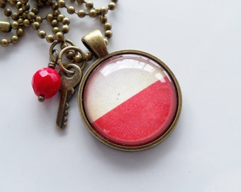 Flag of Poland Necklace - Polish Flag - You Choose Bead and Charm - Patriotic Pendant - Europe - Custom Jewelry - Red and White