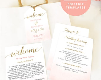 Destination Wedding Welcome Bag Note Sea blue and gold