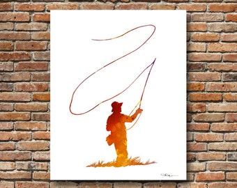 Fly Fishing Art Print - Abstract Watercolor Painting - Wall Decor