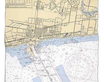 MS: Gulfport, MS Nautical Chart Fleece Throw Blanket, Map Blanket