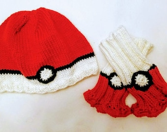Matching Beanie and Wrist Warmers Set - Red and White Wrist Warmers - Red and White Beanie -
