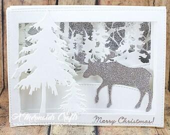 Merry Christmas Winter Wonderland Scene Shadowbox Greeting Card