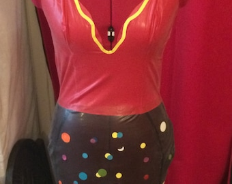 Customized dress low cut LaTeX red and smoked