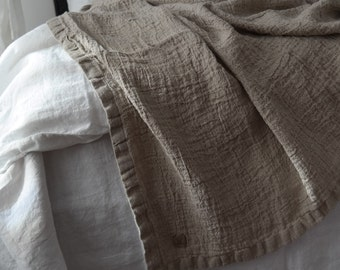 LINEN BLANKET. Rustic linen bed throw, bedspread. RAW washed & softened flax. Made by MOOshop.*15