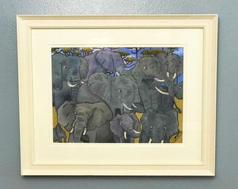 PAINTINGS FOR SALE Elephant paintings acrylic paint on board framed