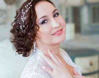 TINY WHITE | Crystal bridal hair vine, wedding tiara, bridal diadem