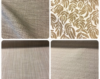 Beige Neutral Upholstery Fabric Botanical Leaf Pattern Checkered Stripe Geometric Canvas Textured Nautical Tropical