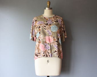 vintage floral blouse / boxy brown floral loose fit blouse / short sleeve rayon top / medium b7