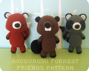 Amigurumi Crochet Forrest Friends Pattern Set Digital Download