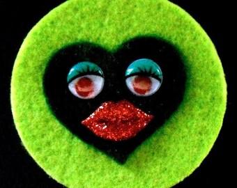 Two-Tone Green Sweet Heart Brooch  (Funky Felt Flowers)
