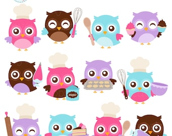 Baking Owls Clipart Set - clip art set of cute owls baking, whisk, chef owls, cupcake - personal use, small commercial use, instant download