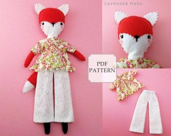 Plush Fox Sewing, Plush Toy pdf, Stuffed Animal Pattern, Sewing Pattern, Plush Fox Toy, Hand Sewing Pattern, Pdf Sewing Pattern, Fox pdf