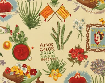 Viva Frida Alexander Henry Fabric in Parchment - 100% cotton by the Yard Frida Kahlo