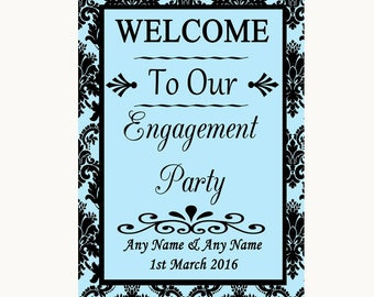 Sky Blue Damask Welcome To Our Engagement Party Personalised Wedding Sign