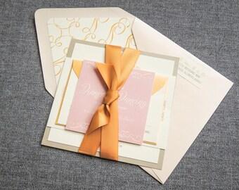 "Rustic Pink Invitations, Blush and Gold Wedding Invites, Layered Wedding Invitation, Baby Shower - ""Enchanting Vintage"" FP-1L-v2 SAMPLE"