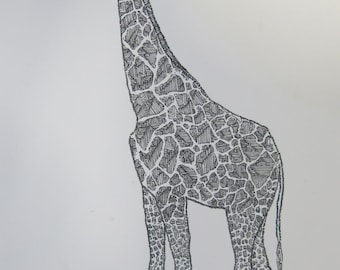 Limited edition Giraffe drawing PRINT