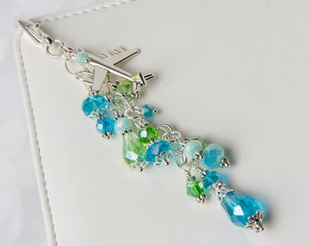 Airplane Planner Charm - Travelers Notebook Charm with Aqua Blue Crystals, Green Crystals and Silver Airplane Charm