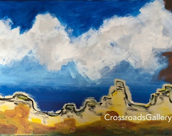 Desert Canyon Abstract Landscape Original Acrylic Painting on Canvas Mountains Clouds