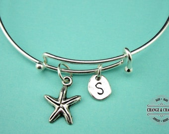 Starfish Bangle, Starfish Bracelet, Starfish Charm, Beach Themed Bracelet, Charm Bracelet, Silver Plated Bangle, Personalized, Initial Charm