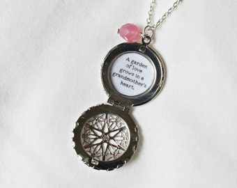 Grandmother Necklace Silver - Locket Quote Love Family - Customised Customized