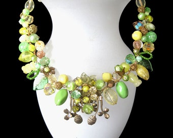 FREE SHIPPING to US. Spring Greens - Lemon and Lime delight! A Unique Designer necklace fashioned from vintage beads and rare components.