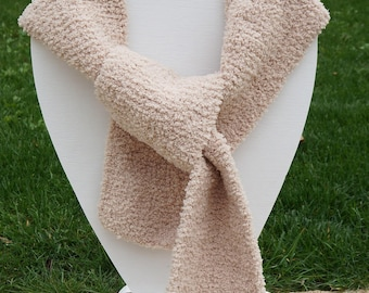 For woman and girl hand knitted beige scarf