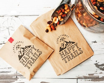 Happy Trails - Trail Mix Wedding Favor Bag - Mountain Wedding Favor - Personalized Camping Theme - Flat Kraft Bags - 20 Bags