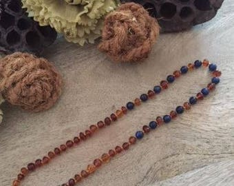 Teething Blue Honey Stone Natural Baltic Honey Amber Necklace Baby Child Certified 3 Sizes