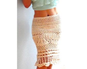 Midi crochet skirt- Sexy skirt, boho crochet skirt- Handmade chic women white skirt- Crochet mermaid skirt-Fitted skirt-spring crochet skirt