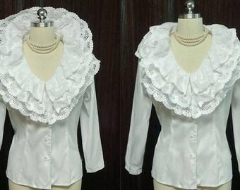Vintage Very Feminine 3 Tier Embroidered Ruffled Eyelet Blouse vintage top eyelet blouse ruffle blouse eyelet top 70s blouse 80s blouse