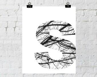 S Monogram, Monogram Wall Art, Tree Branch Art, Wall Art Prints, Home Decor, Instant Download, ADOPTION FUNDRAISER